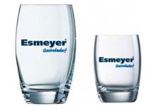 Glas mit Logodruck