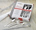 24-pcs. cutlery set SYLVIA 18/10 polished, with fine laser engraving Desiree, in photo gift box No. 3