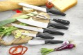 Carving fork MOON Made of stainless steel with continuous blade, Handle from black POM,