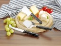 4 pcs. cheese-knife-set GOURMET, with wooden cutting board, in color box with clear cover.