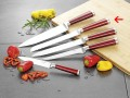 Bread knife MARVEL, blade made of knife steel, blade thickness: 2.5 mm, handles red, Overall length: 32 cm, on hang card