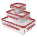 Emsa airtight glass storage container set Clip  C volume: 0.2/ 0.5/ 1.3 litre
