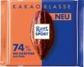 Ritter Sport 74% Peru die Kräftige Kakao  Klasse-Sortiment 100G