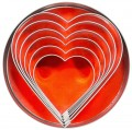 Heart Shaped Cutters, tin, 6 piece set complete  with tin ( Ø 10 cm)