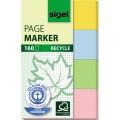 Sigel Haftmarker Recycle 100  Recyclingpapier 1  x gelb, 1 x blau, 1 x grün, 1 x rosa 40 Bl./Block  4 Block/Pack.