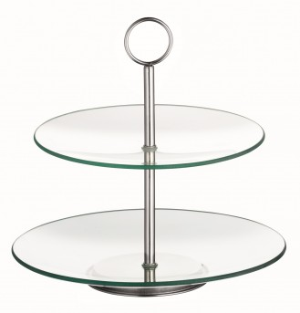 2 level cake stand COOKIE, made of transparent gla Diameter: bottom 250 mm, top 210 mm. Height: 270 mm.