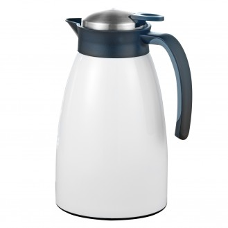 Vacuum flask GLACE, volume: 1.5 litre, double-walled stainless steel, painted white,