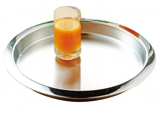 Stainless steel tray VENGA, round, Diameter 35 cm, height, 3 cm,  Matt surface, rim polished to a high gloss.