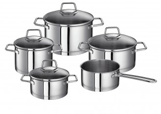 Schulte-Ufer Maxi saucepan set WEGA 9-parts Made of stainless steel rust-free 18/10 with glass