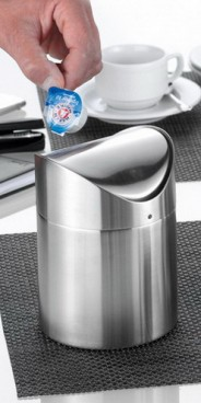 Table waste container SWING with swivel lid, Material: Stainless steel 18/10, matt finished and Height: 150 mm, diameter: 120 mm.