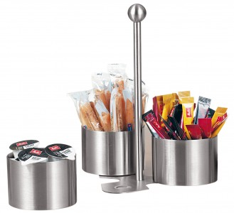 Snack and dip set BOSTON,  Material: Stainless steel, brushed with 3 bowls and a holder.