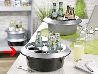 Bottle cooler conference boy CLASSIC, Colour: black/ silver, made of plastic with aluminium cover, including cold pack