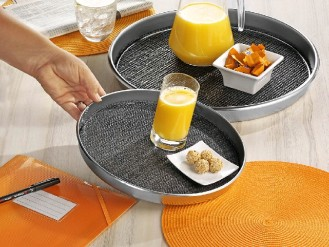 Serving tray SAFE round, 29 cm, made of stainless  height 2.5 cm, With removable non-slip insert
