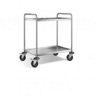 Blanco shelf-trolley RATIONAL with 2 shelves, model SW8 x 5-2, Bottom securely welded
