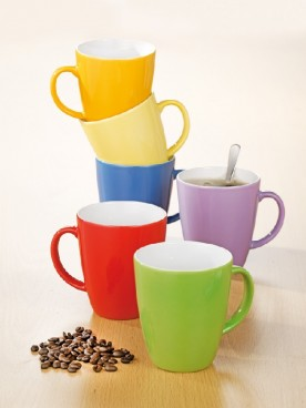 6 mugs with handle, volume: each 0.35 ltr, Eschenbach COFFEESHOP HAPPY COLOUR Multicolour, height: 9.6 cm