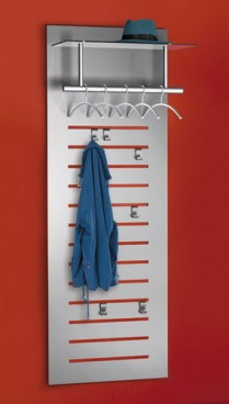 Design tec-art wall mounted coatrack, incl. 5 clot and 6 hooks, W 60 x D 51 x H 170 cm,