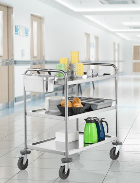 Blanco shelf-trolley RATIONAL with 3 shelves, model SW8 x 5-3, Bottom securely welded