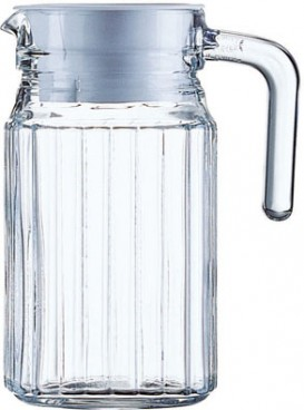 Jug QUADRO, volume: 0.5 litre, with white Plastic lid, H: 15.7 cm, Diam.: 8.5 cm Not suitable for hot drinks!