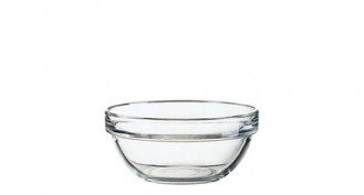 Glass bowl EMPILABLE, volume: 0.33 litre, Diameter: 120 mm, height: 55 mm, stackable.