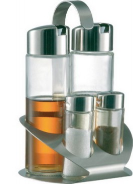 Cruet vinegar/oil/salt/pepper, TREND LINE made of glass, Length: 125mm x width: 110 mm x height: 180 mm