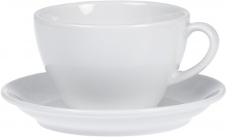 Cappuccino cup BISTRO, volume 0.30 ltr, with saucer, porcelain, PLAIN WHITE  Round handle design, height: 7.2 cm
