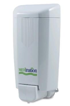 Medination Seifenspender 1000ml, weiß frei nachfüllbar, mit Schloß Maße: 22,5 x 11,2 x 9 cm