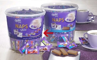 MILKA NAPS MIX, Contents: 207 pieces  4.6 g per carton. Alpenmilch, Haselnuss, Erdbeer, Crème au Cocoa