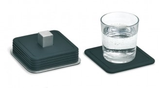 Blomus silicon coaster TRAYAN, Square, dimensions: 95 x 95 mm Set of 6 coasters in stainless steel container
