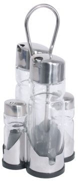 Cruet 5 part NEW LINE Vinegar  oil, salt  pepper Length: 9,5 cm, width: 9,5 cm, height: 22 cm