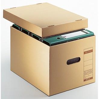Leitz Archivbox Premium 34 x 27,5 x 45,5 cm (B x  H x T) DIN A4 mit Archivdruck Wellpappe  recycelt/Natronpapier, kaschiert naturbraun
