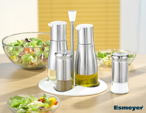 5 part cruet BELLE  Made of stainless steel, glass and plastic.  In gift box.