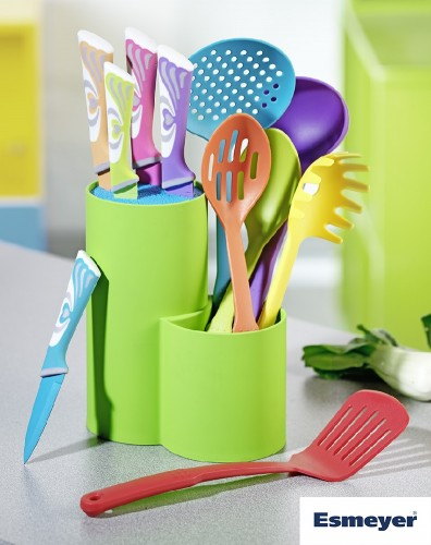 Universal knife block AURIGA with colour knife  and colour nylon kitchen ware set Set contains knife block 11x19x22.5cm, chef knife