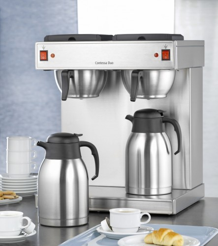 Bartscher double coffee machine CONTESSA DUO, made of chrome nickel steel