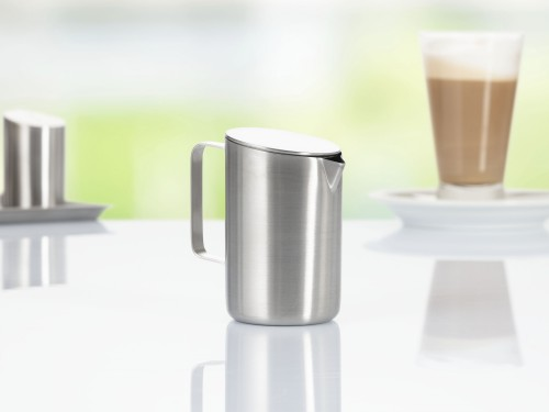 milk jug VISTA, with lid and handle, made of stainless steel 18/10, with brushed surface,
