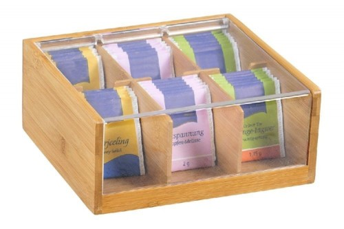 Teabag box EARL GREY, made of bamboo, with 6 compa with transparent plastic flap, FSC certified, Dimensions: 220 x 210 x 95 mm