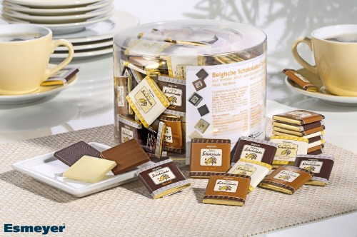 BELGIAN CHOCOLATE THINS, Contents: 165 pieces  4.5 g per round tin, mix Milk, plain, white chocolate