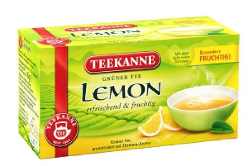 Teekanne GRÜNER TEE LEMON, Inhalt: 20 Teebeutel à 1,8 g, einzeln kuvertiert, erfrischend, fruchtig.