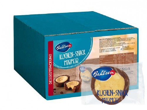 Bahlsen Kuchen Snack Marmor (cake snack), Content: 55 pieces  27,5 g per box, small Madeira cake with chocolate.