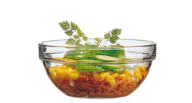 Glass bowl EMPILABLE, volume: 1 litre, Diameter: 170 mm, height: 78 mm, stackable.