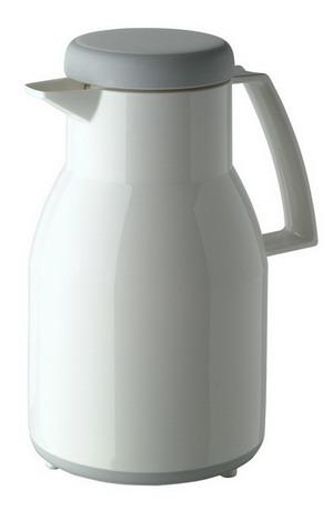 Helios vacuum flask WASH, volume: 1 litre Colour: white, dishwasher-safe, Plastic, quality glass lining, screw cap