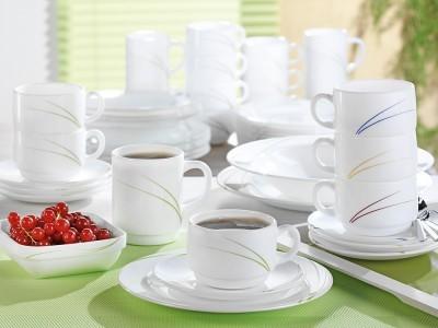 """18-teiliges Kaffeeservice/Sparset TORONTO, weiß, Dekor blau (""""Navy"""") aus Opalglas von Arcoroc. Komplett für 6 Personen."""