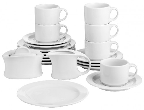 20 part Coffee service ADRINA made of white porcelain, SPARSET (economy set) for six persons.