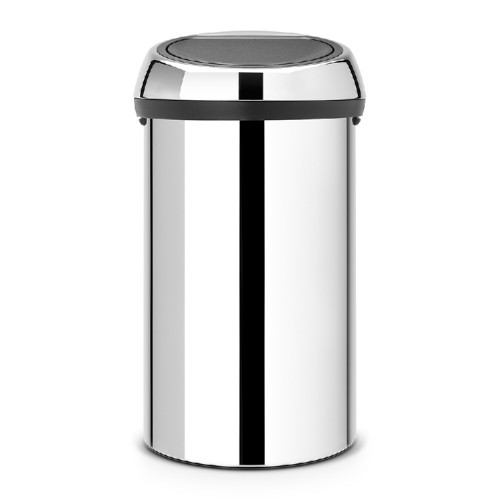 Brabantia waste bin TOUCH BIN, content: 60ltr, diameter 40.1 cm, height, 70.5 cm, Colour body and cover: Brilliant Steel.