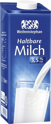Weihenstephan H-Milch mit 3,5% Fett, Inhalt: 1 l ultrahocherhitzt.